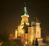 Kathedraal van Timisoara bij Nacht stock foto's