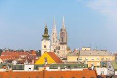 Kathedraal van Veronderstelling Zagreb, Kroatië stock afbeeldingen