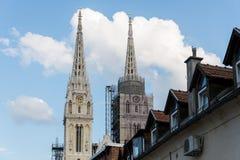 Kathedraal van Zagreb, Kroatië stock foto's