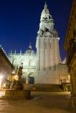 Kathedraalklokketoren in nacht Santiago DE compostela Stock Foto