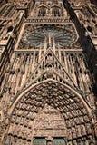 Kathedraalvoorgevel, Straatsburg, Frankrijk Stock Foto