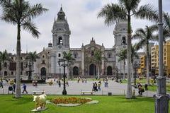 Kathedrale bei Plaza de Armas, Lima, Peru lizenzfreies stockbild