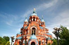 Kathedrale der Kasan-Ikone der Mutter des Gottes in Irkutsk-Stadt, Russland Lizenzfreie Stockfotografie