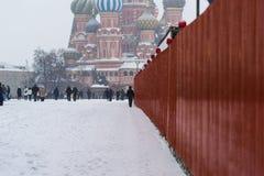 Kathedrale des Basilikums auf rotem Quadrat Stockfotos