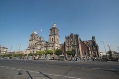 Kathedrale Metropolitana de la Ciudad de Mexiko auf Zocalo-Quadrat Stockbilder