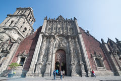 Kathedrale Metropolitana de la Ciudad de Mexiko auf Zocalo-Quadrat Lizenzfreie Stockbilder