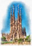 Kathedrale Sagrada Familia in Barcelona, Spanien lizenzfreie abbildung