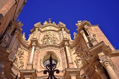 Kathedrale Santa Maria Valencia, Valencia, Fassade, Barock, neoklassisch, gotisch lizenzfreie stockbilder