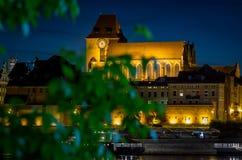 Kathedrale ` SS Johns in Torun, Polen sah durch grüne Blätter an Lizenzfreie Stockfotografie