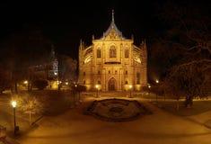 Kathedrale St. Barbaras in der Nacht Lizenzfreie Stockfotos