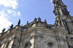 Kathedrale Trinitatis-Spitze von Dresden in Deutschland Stockbild