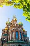 Kathedrale unseres Retters auf Spilled Blut in St Petersburg, Russland am sonnigen Tag lizenzfreie stockfotografie