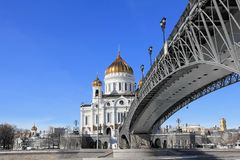 Kathedrale von Christus der Retter und der Patriarchat patriarchalisch im März stockfotos