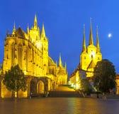 Kathedrale von Erfurt im Thuringia am Abend Lizenzfreies Stockbild