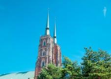 Kathedrale von Johannes der Baptist im Wroclaw Stockfotos