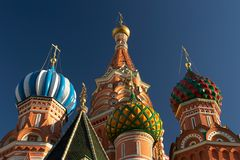 Kathedralehauben des Heilig-Basilikums. Moskau, Russland. Nahaufnahme Stockbild