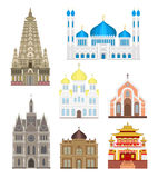 Kathedralen en kerken infographic tempelgebouwen geplaatst de vector van het het oriëntatiepunttoerisme van architectuurazië Stock Foto's