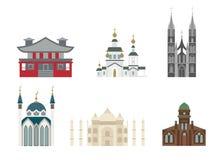 Kathedralen en kerkenvector Stock Fotografie