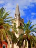Kathedralen-Glockenturm mit Palmen stockfotos