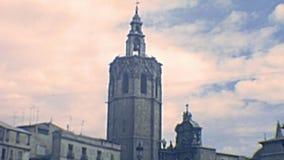 Kathedralen-Glockenturm Valencias archivalischer stock footage
