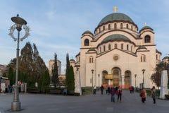 Kathedralen-Kirche des Heiligen Sava in der Mitte der Stadt von Belgrad, Serbien stockbild