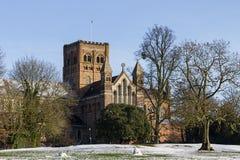 Kathedralen-und Abtei-Kirche des Heiligen Alban in St Albans, Großbritannien Stockfotografie