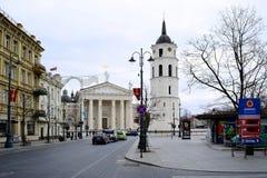 Kathedralenquadrat von Vilnius mit Glockenturm und Kathedrale Stockbilder
