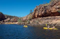 Katherine Gorge. Tourists canoeing in Katherine Gorge, Nitmiluk National Park, Northern Territory, Australia Royalty Free Stock Photos