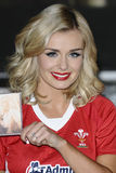 Katherine Jenkins. (in a Welsh Rugby Shirt) signs copies of her new album Daydream at HMV Oxford Street, London. 14/10/2011 Picture by: Steve Vas / Featureflash Royalty Free Stock Image