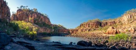 Katherine River Gorge panorama in Australia. Great sandstone cliffs at Katherine River Gorge panorama in Nitmiluk National Park, Northern Territory, Australia Royalty Free Stock Image