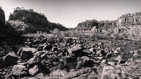 Katherine River Gorge Panorama in black and white Royalty Free Stock Photos