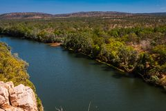 Katherine River, Nitmiluk National Park, Australia. Katherine River is located in the Northern Territory, Australia. Its headwaters are in Nitmiluk National Park royalty free stock photos