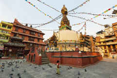 KatheSimbhu Stupa i Katmandu, Nepal Fotografering för Bildbyråer