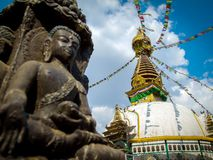 Kathesimbu Stupa with Buddha wisdom eyes Royalty Free Stock Photos