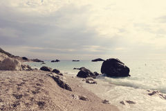 Kathisma海滩在莱夫卡斯州希腊 图库摄影