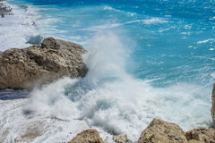 Kathisma海滩,莱夫卡斯州海岛在爱奥尼亚海,希腊 免版税库存照片