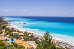 Kathisma海滩,莱夫卡斯州海岛,希腊 Kathisma海滩是一  免版税库存图片