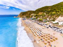 Kathisma Beach birds eye view in Lefkada Greece. Kathisma Beach birds eye view in Lefkada Island, Greece Stock Photography
