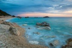 Kathisma beach, Lefkada, Greece surprised at twilight. stock images