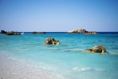 Kathisma Beach, Lefkada Island in Ionian Sea, Greece. Beautiful turquoise water royalty free stock photos
