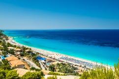 Kathisma plaża, Lefkada wyspa, Grecja Obrazy Royalty Free