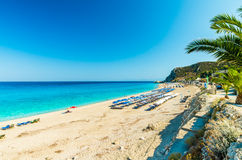 Kathisma plaża, Lefkada wyspa, Grecja Obraz Stock