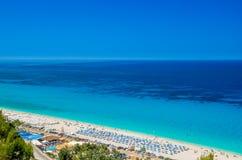Kathisma plaża, Lefkada wyspa, Grecja Zdjęcia Stock