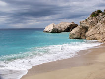 Kathisma strand - Lefkada Arkivbilder