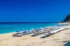 Kathisma-Strand, Lefkas-Insel, Griechenland Lizenzfreies Stockfoto