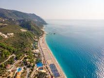 Kathismastrand, het Eiland van Lefkada, Griekenland Het Kathismastrand is één van de beste stranden in het Eiland van Lefkada in  royalty-vrije stock fotografie