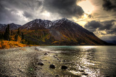 Kathleen Lake, Yukon Territories, Canada. A view of Kathleen Lake in the Yukon Territories, Canada.  This site is located within the Kluane National Park and Royalty Free Stock Images