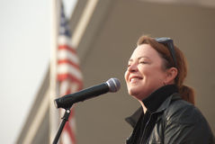 Kathleen Madigan with the Troops Royalty Free Stock Photo