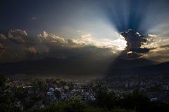 kathmandu över solnedgång arkivfoto