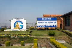 Welcome to the land of Budhi on March 24, 2018 at the airport of. Kathmandu Airport, Nepal - March 24, 2018: Welcome to Budhi land on March 24, 2018 at Kathmandu stock photography